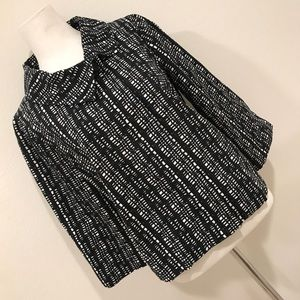 H&M Black and White Abstract Cape Blazer